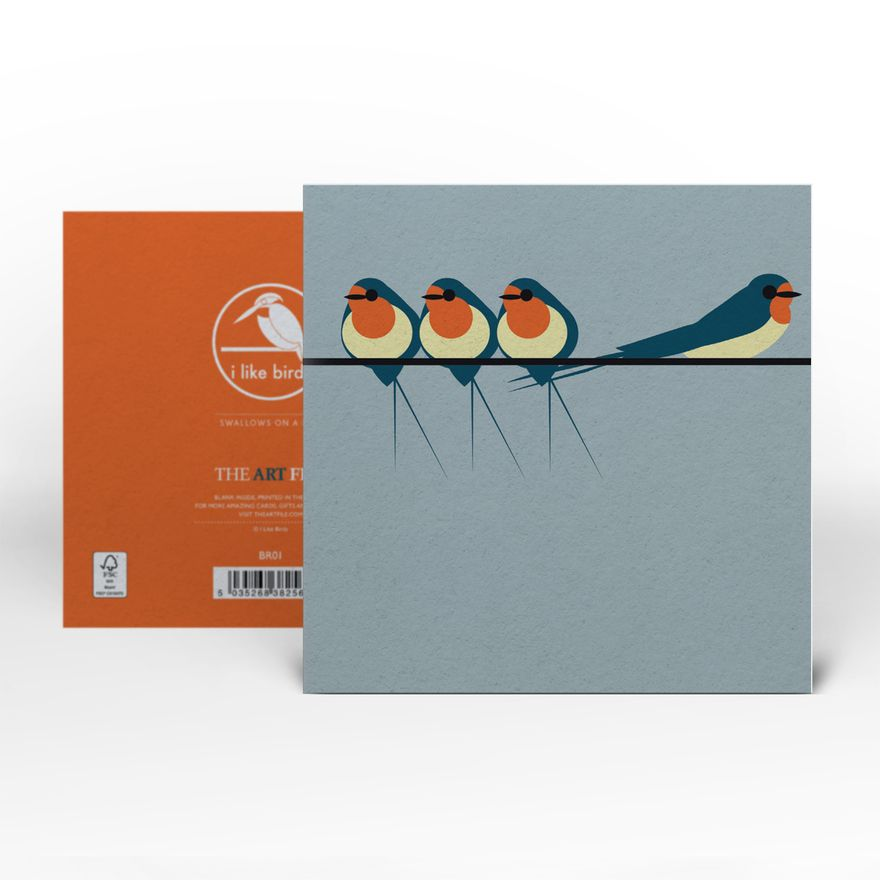 Greeting Card | Swallows on a Line