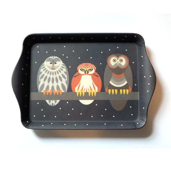 Starry Owls Sandwich Tray - I Like Birds - Beautiful Bird Greeting Cards