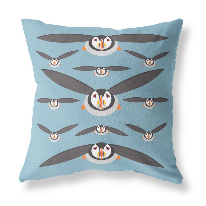 Puffin Cushion Cover - I Like Birds - Beautiful Bird Greeting Cards