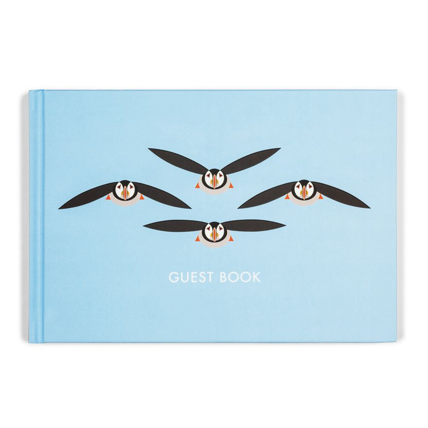 Flying Puffins Guest Book - I Like Birds - Beautiful Bird Greeting Cards
