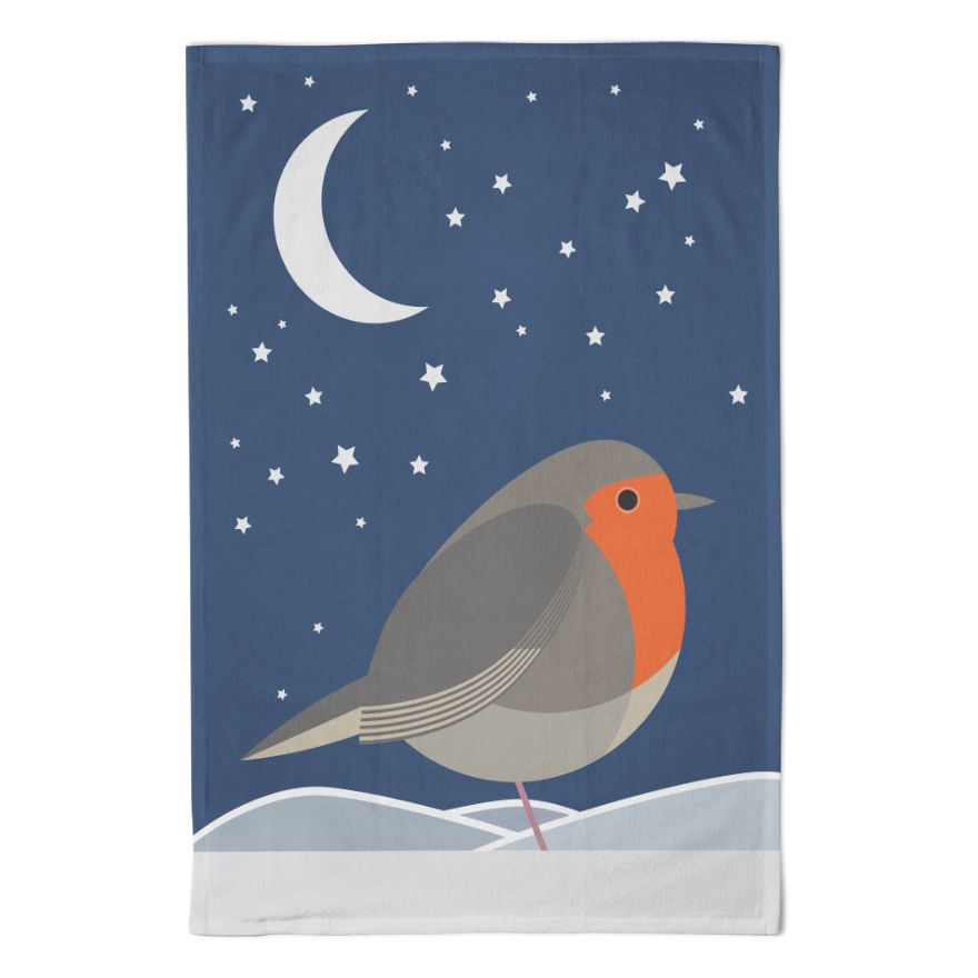 Midnight Robin Tea Towel