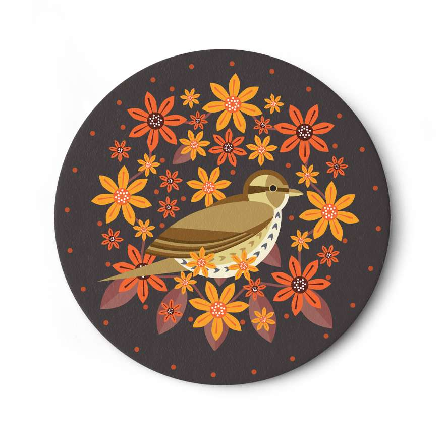 Birds & Blooms: Song Thrush Coaster
