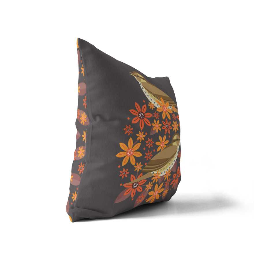 Birds & Blooms Song Thrush Cushion Cover