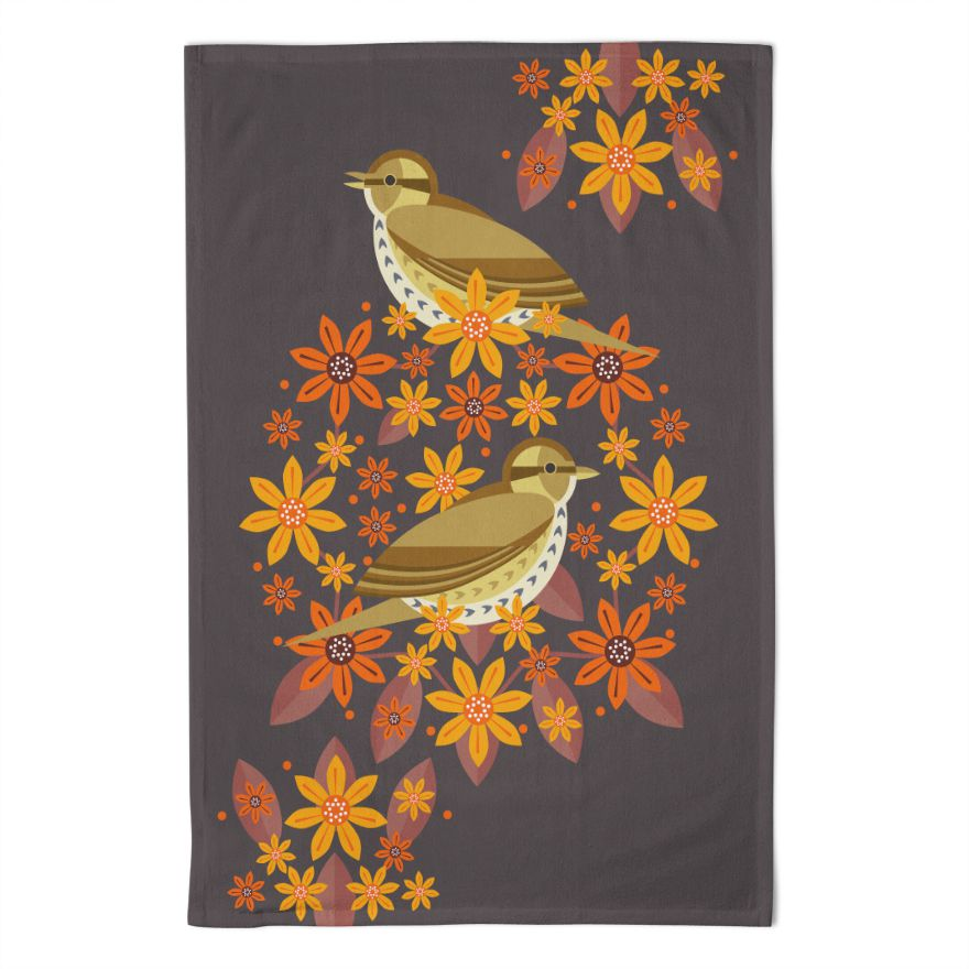 Birds & Blooms Song Thrush Tea Towel