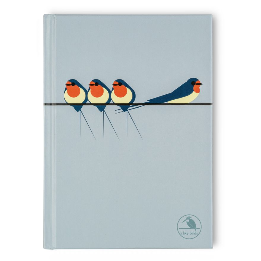 Swallows on a Line Notebook - I Like Birds - Beautiful Bird Greeting Cards