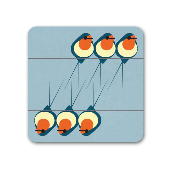 Swallows Coaster - I Like Birds - Beautiful Bird Greeting Cards