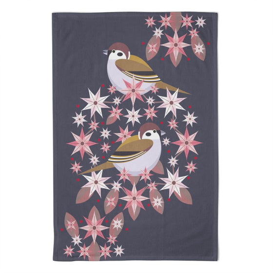 Birds & Blooms Tree Sparrow Tea Towel