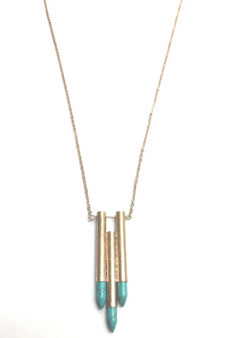 Brushed gold long medallion necklace with a spike accent at the bottom - LB Mint