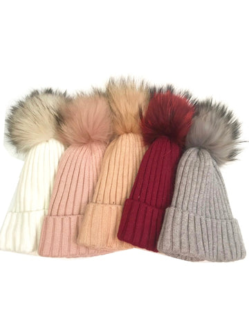 The Evelyn Fur Pom Hat