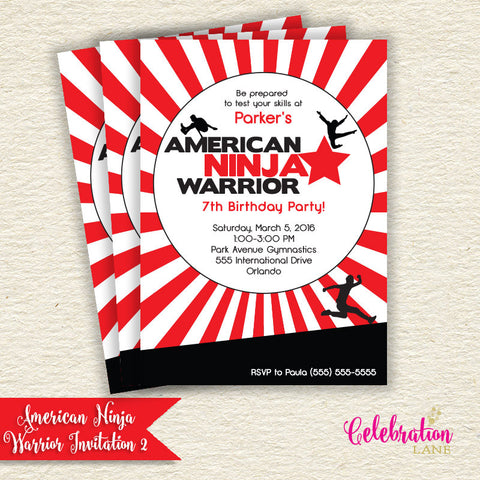 American Ninja Warrior Birthday Invitation