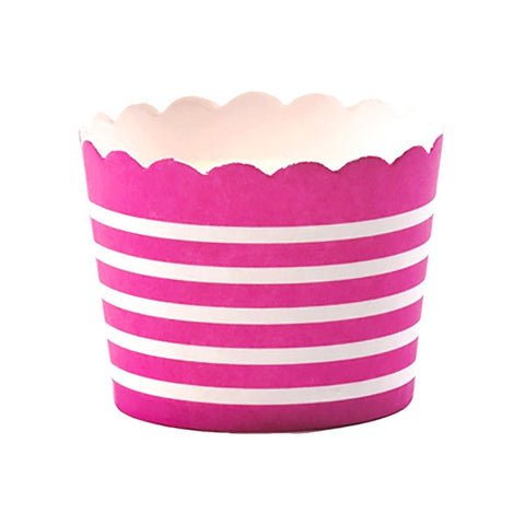 Baking Cups - Magenta Horizontal Stripe