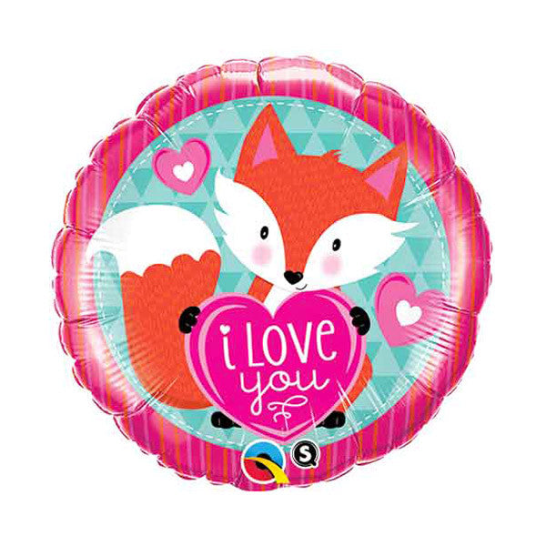 Cute Fox I Love You Balloon - 18 in