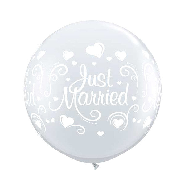 Just Married Clear Balloon - 36 in