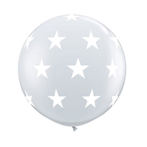 Clear 36 inch Balloons - White Stars