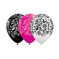 Damask Latex Balloons, 11 inch, Choose Black, White or Hot Pink