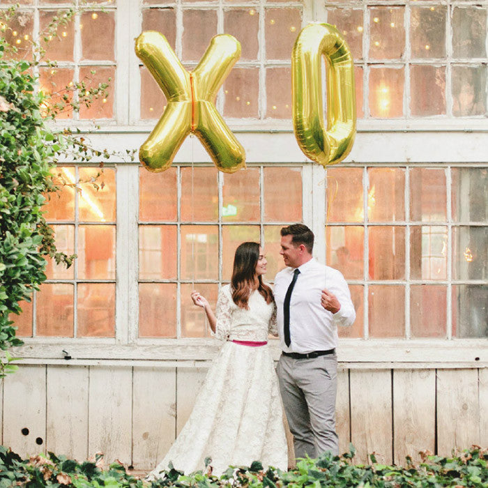 Large XO Mylar Foil Balloons in Gold or Silver