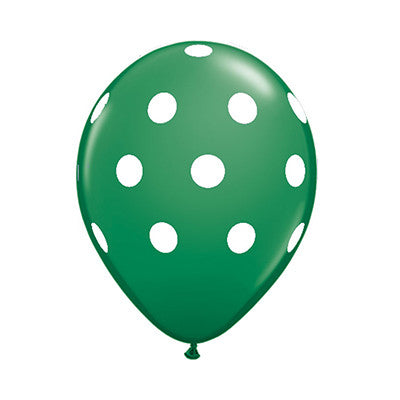 Polka Dot Balloons 11 in- Green