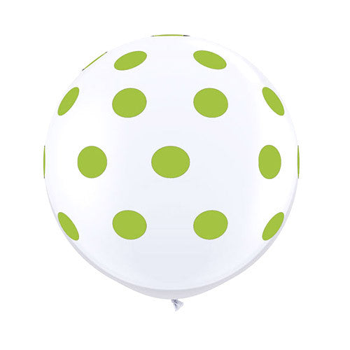 White Polka Dot Balloons 36 in - Lime Green