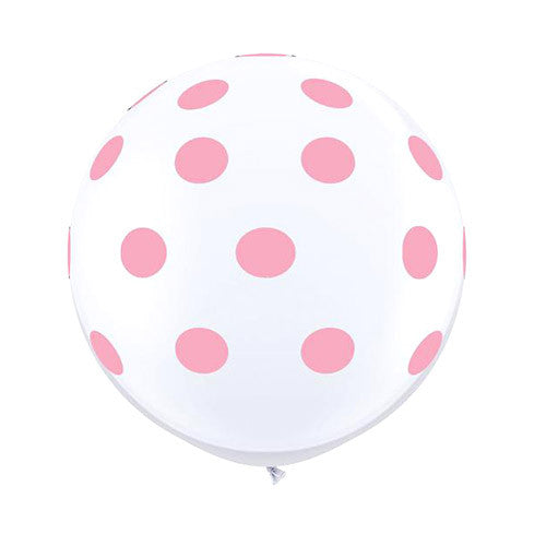 White Polka Dot Balloons 36 in - Light Pink