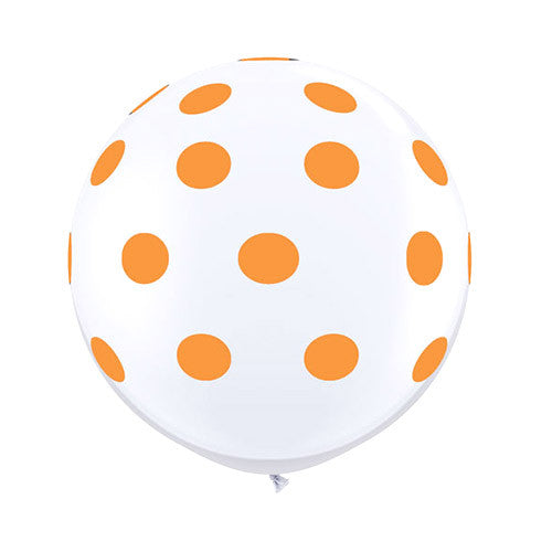 White Polka Dot Balloons 36 in - Orange