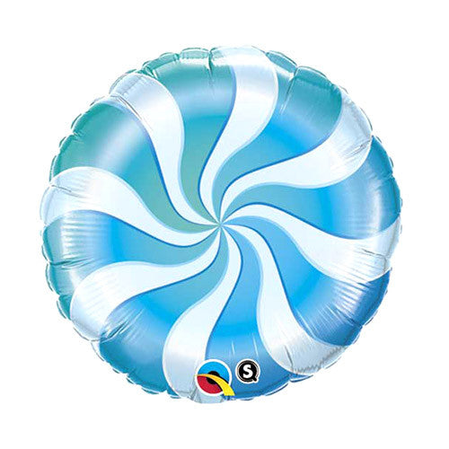 Peppermint Swirl Balloon 18 in - Blue