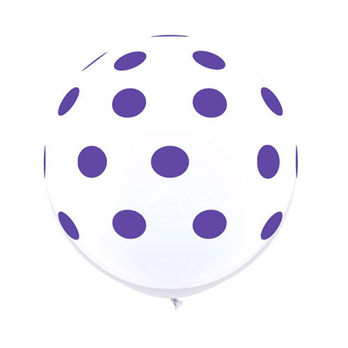 White Polka Dot Balloons 36 in - Purple