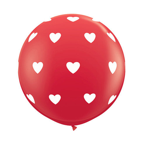"Red Balloon 36"" - White Hearts (SALE)"