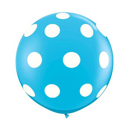 Polka Dot Balloons 36 in - Robins Egg Blue