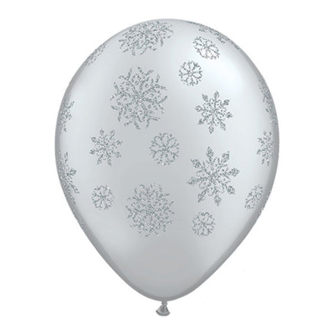 Glittered Snowflake Balloons - 11 in