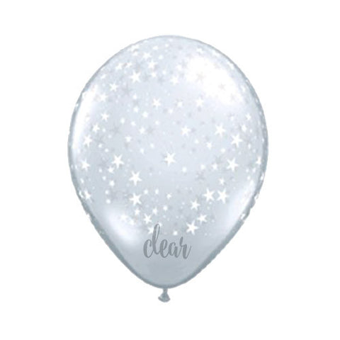 Clear & White Star Balloons