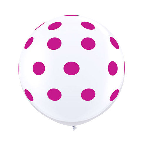 White Polka Dot Balloons 36 in - Wildberry