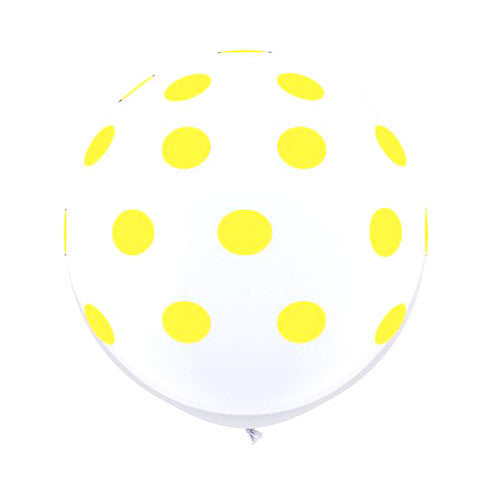 White Polka Dot Balloons 36 in - Yellow