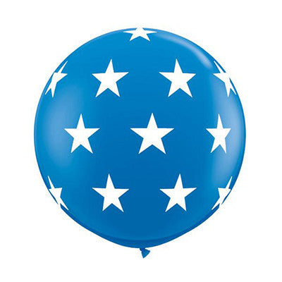 Blue 36 inch Balloon - White Stars