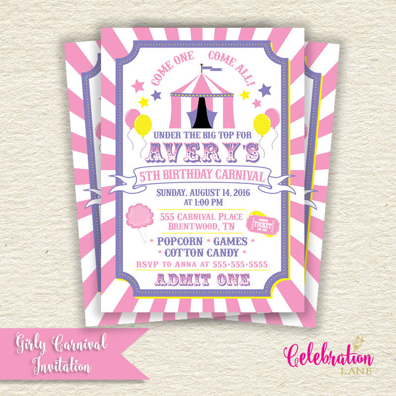 Pink Carnival Birthday Party Invitation