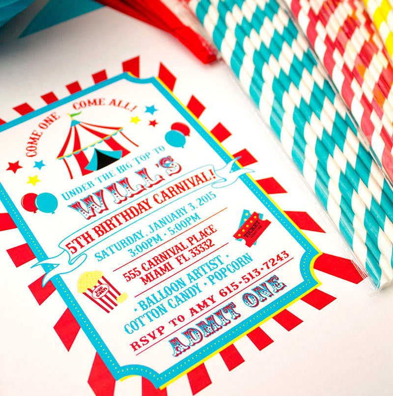 Carnival or Circus Birthday Invitation