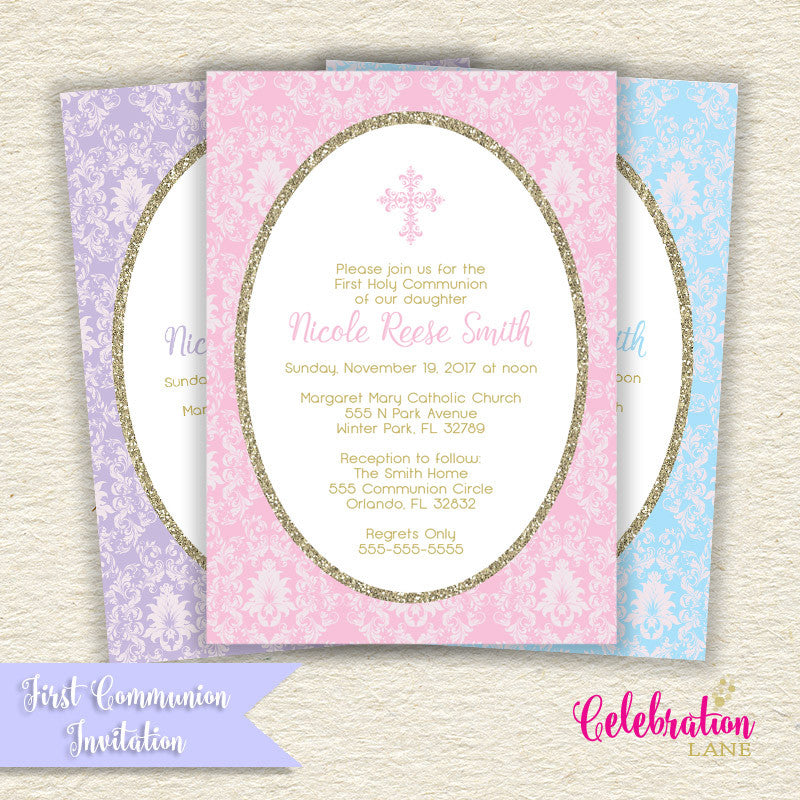 First Holy Communion or Baptism Invitation (Pink, Blue or Lavender)
