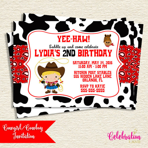 Cowgirl or Cowboy Birthday Invitation