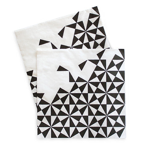Black Geometric Dinner Napkins (Pack of 20)