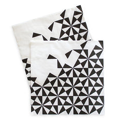 Paper Eskimo Black Geometric Dinner Napkins (Pack of 20)
