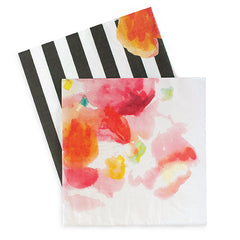 Paper Eskimo Floral Escape Dinner Napkins with Bold Black Stripe