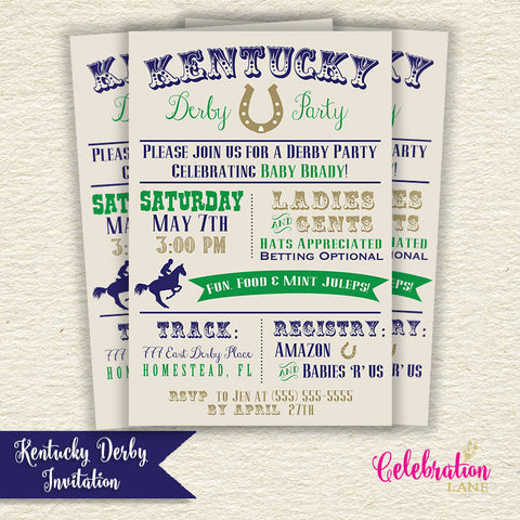 Kentucky Derby Baby Shower Invitation