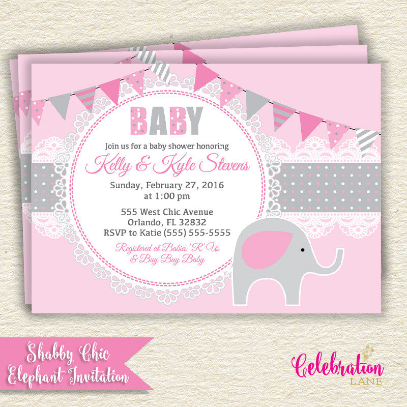 Shabby Chic Elephant Baby Shower Invitation