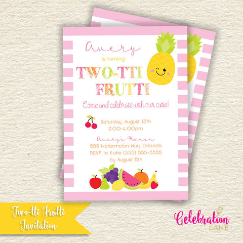 Two-tii Frutti Birthday Party Invitation