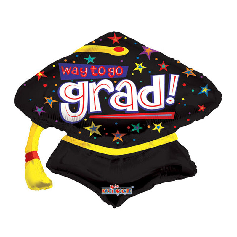 Way To Go Grad Cap Mylar Balloon, 23 inch