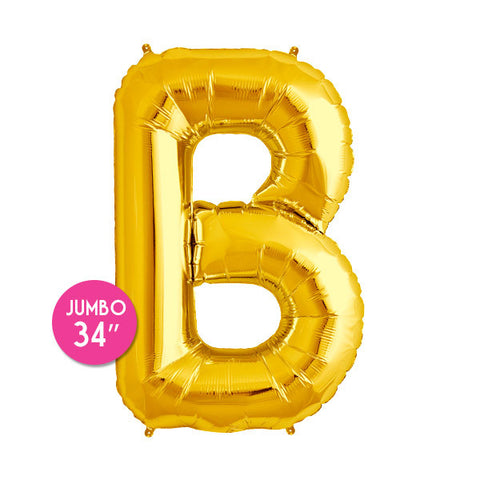 Gold Letter B Balloon - 34 in