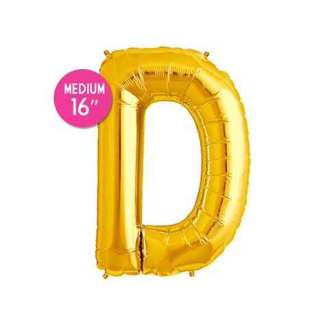 Gold Letter D Balloon - 16 in