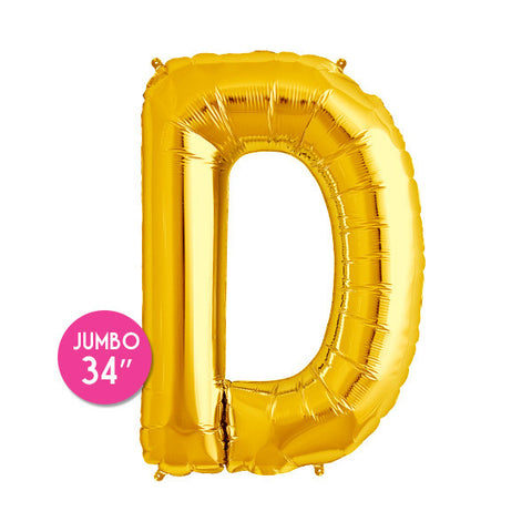 Gold Letter D Balloon - 34 in