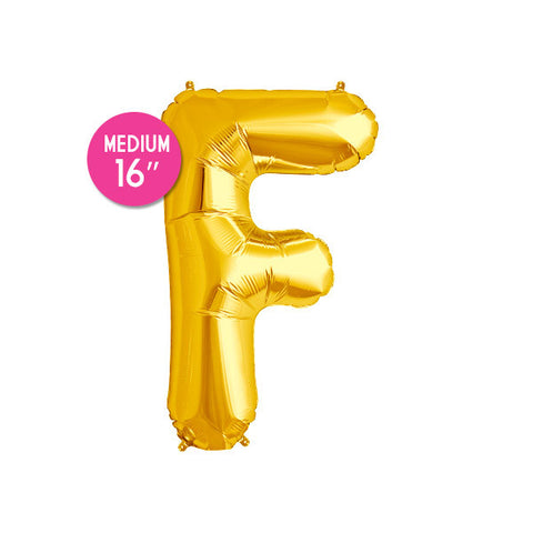 Gold Letter F Balloon - 16 in