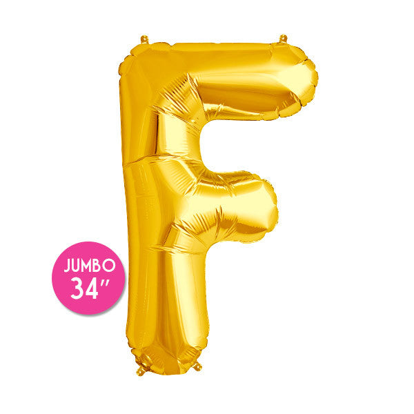 Gold Letter F Balloon - 34 in