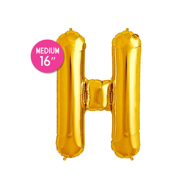 Gold Letter H Balloon - 16 in